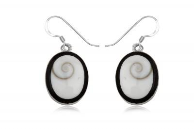 Cercei ovali cu scoica Ochiul lui Shiva