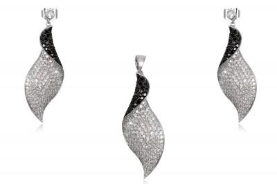 Set din argint cu zirconii in alb si negru