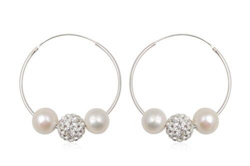 cercei cercuri argint cu perle