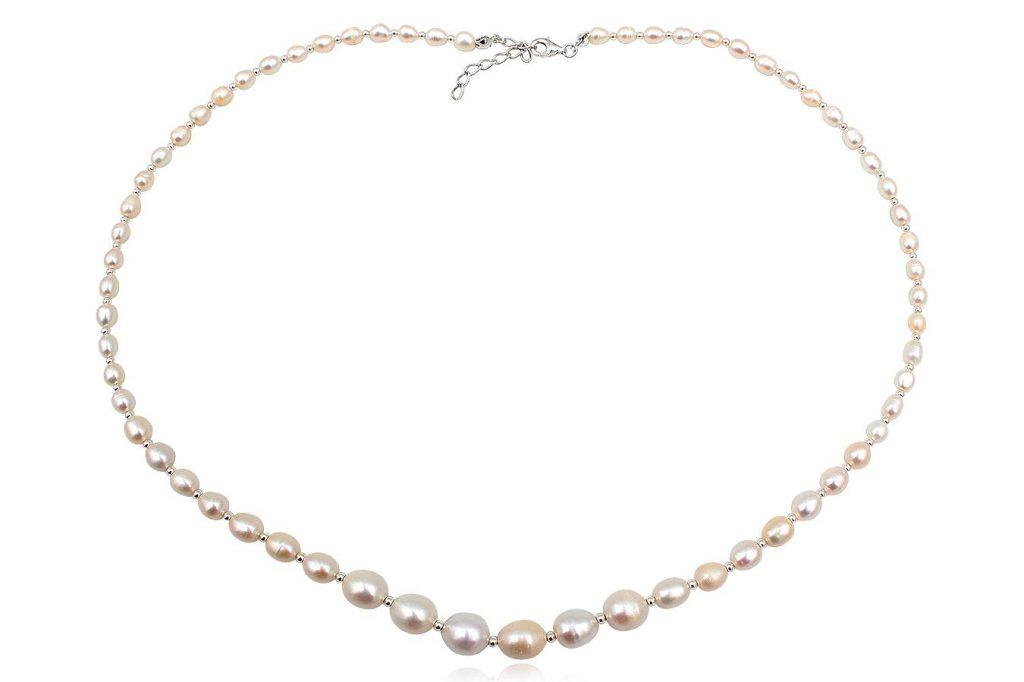 Colier Din Perle Naturale Albe Si Argint