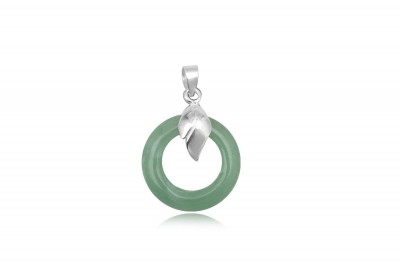 Pandantiv rotund din argint si cuart verde
