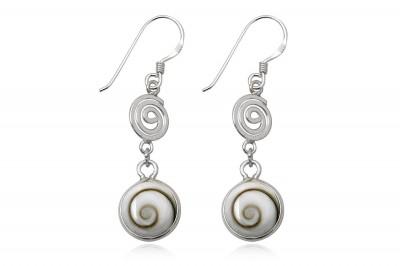 Cercei din argint cu spirale si scoici