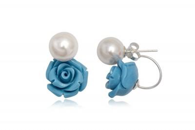 Cercei in stil Dior cu trandafir bleu