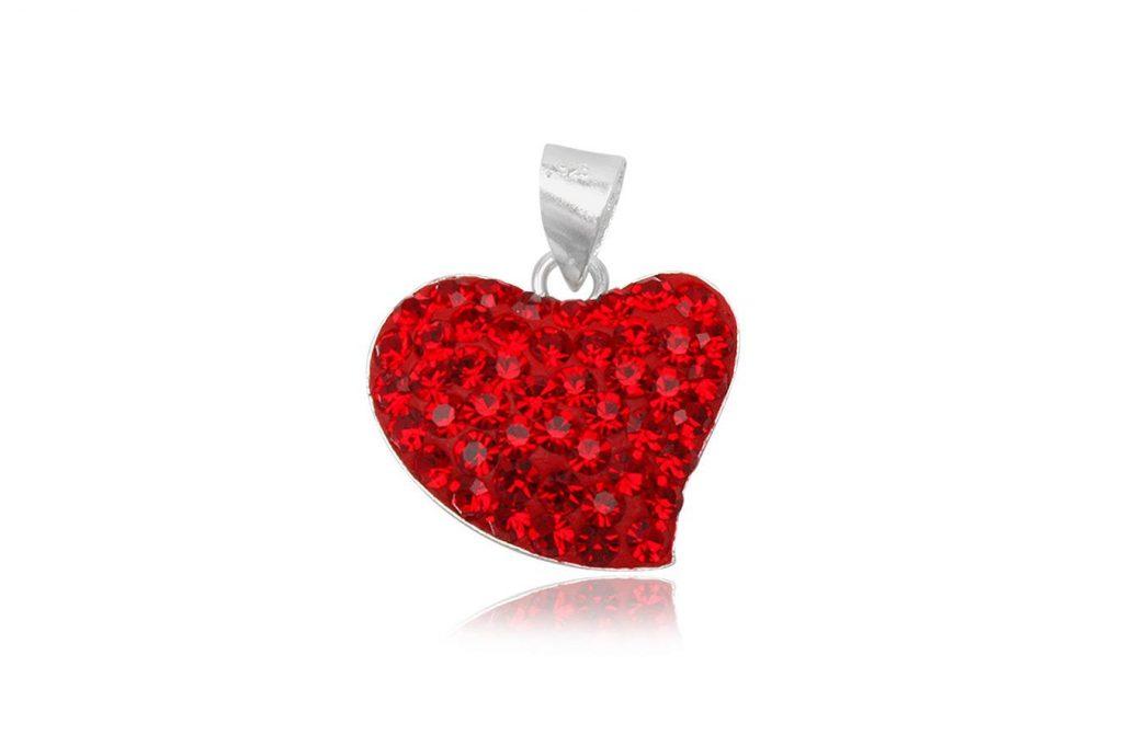 Pandantiv Inimioara Din Argint Cu Cristale Rosii