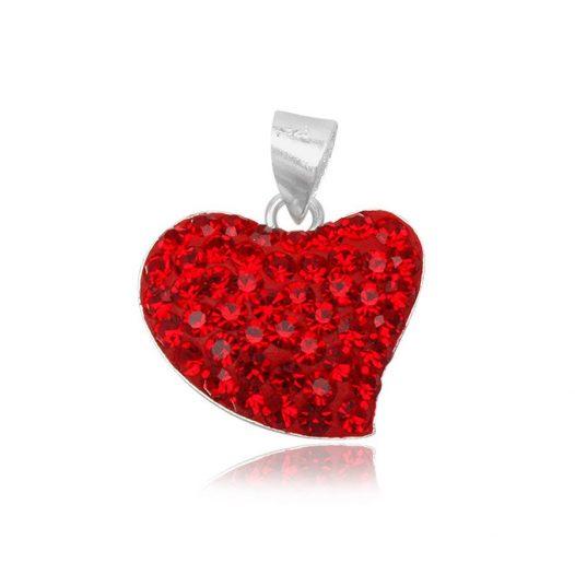 pandantiv inimioara rosie cu cristale