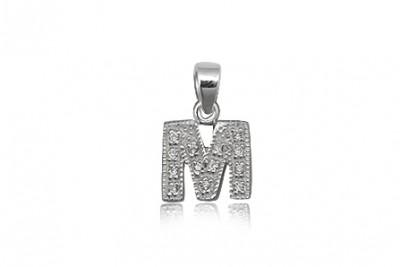 Pandantiv din argint litera M