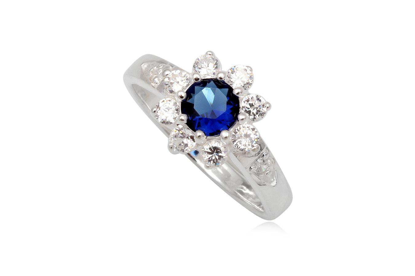 inel argint floare albastra
