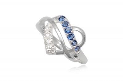 Inel inima din argint cu zirconii albastre
