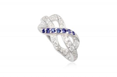 Inel cu simbol infinit cu zirconii albastre