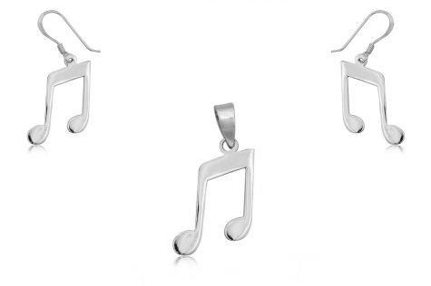 set note muzicale argint