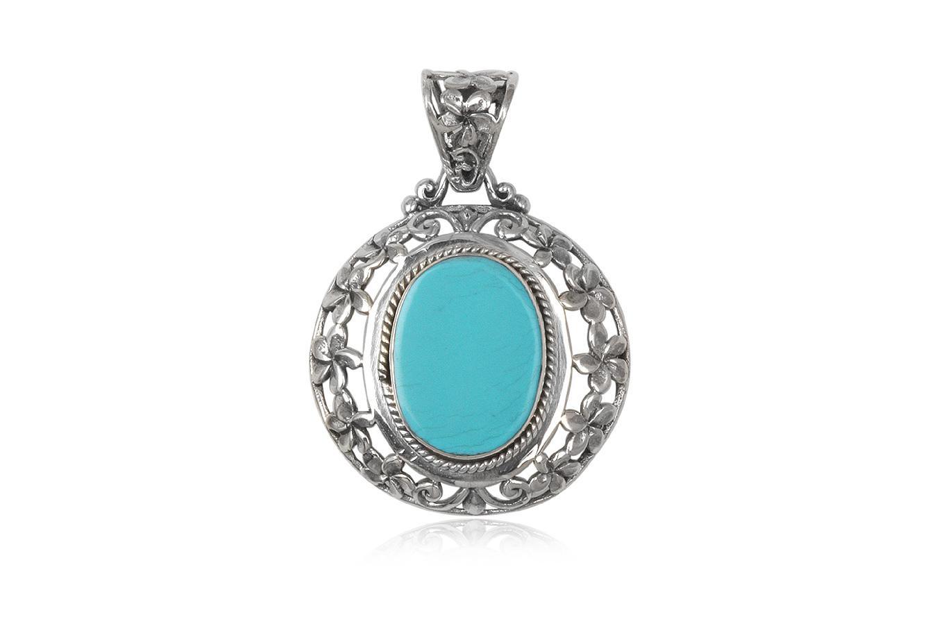 pandantiv argint si piatra bleu