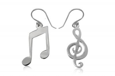 Cercei pereche de note muzicale din argint