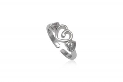 Inel Midi din argint cu inimioare