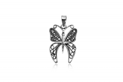 Pandantiv fluture broderie din argint