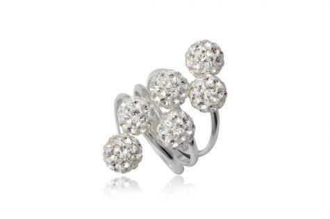 inel argint cu sase bobite albe
