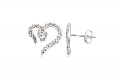Cercei inimi stilizate din argint si cristale