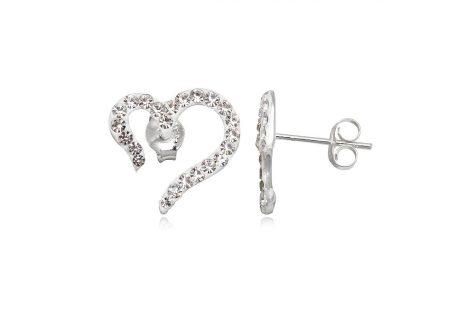 cercei inimi stilizate cu cristale