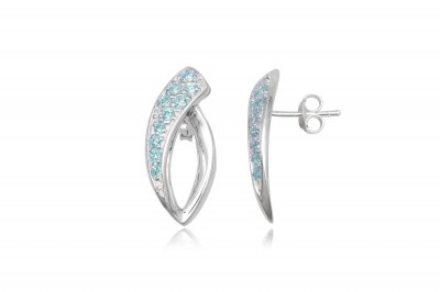 Cercei din argint cu zirconii bleu deschis