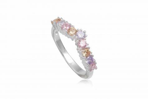 inel din argint cu zirconii multicolore