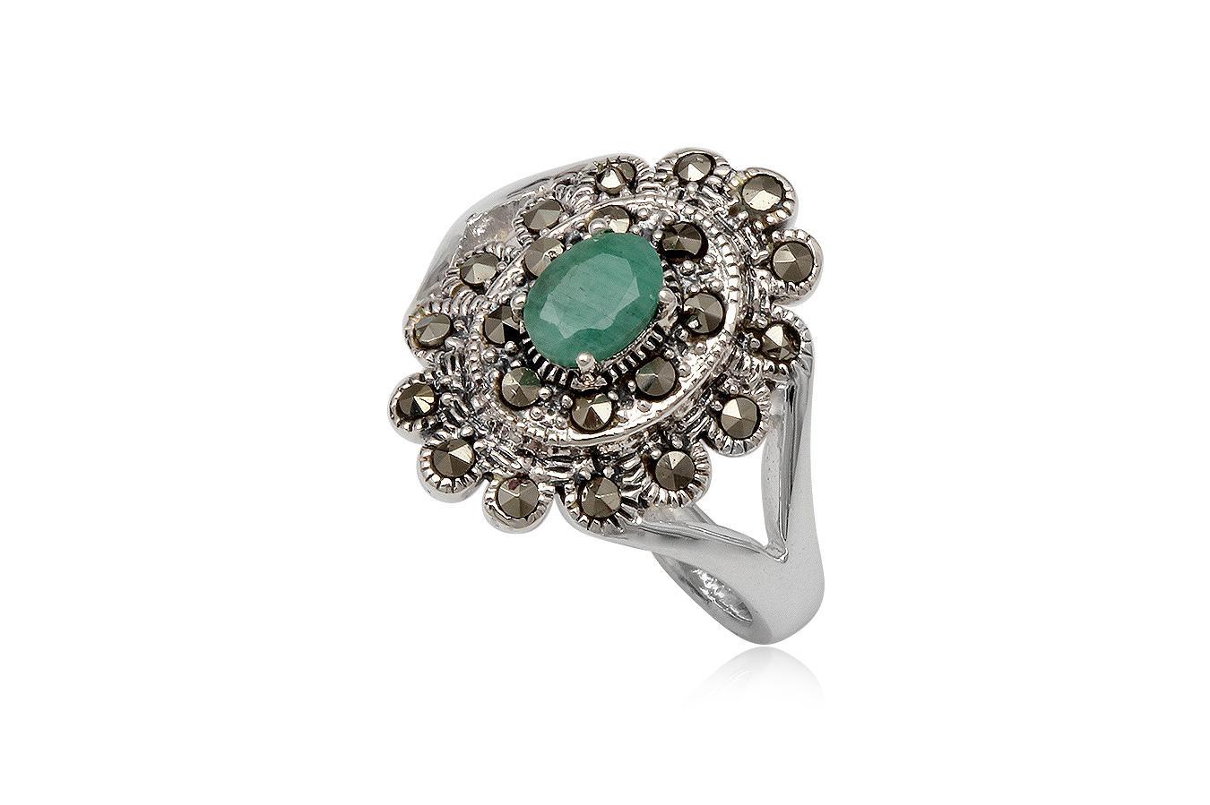 inel floare din argint cu smarald