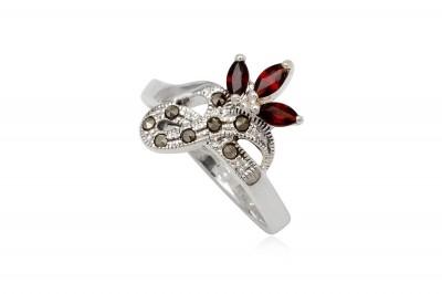 Inel din argint floare cu granate