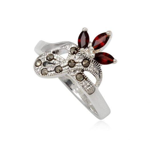 inel argint floare grena