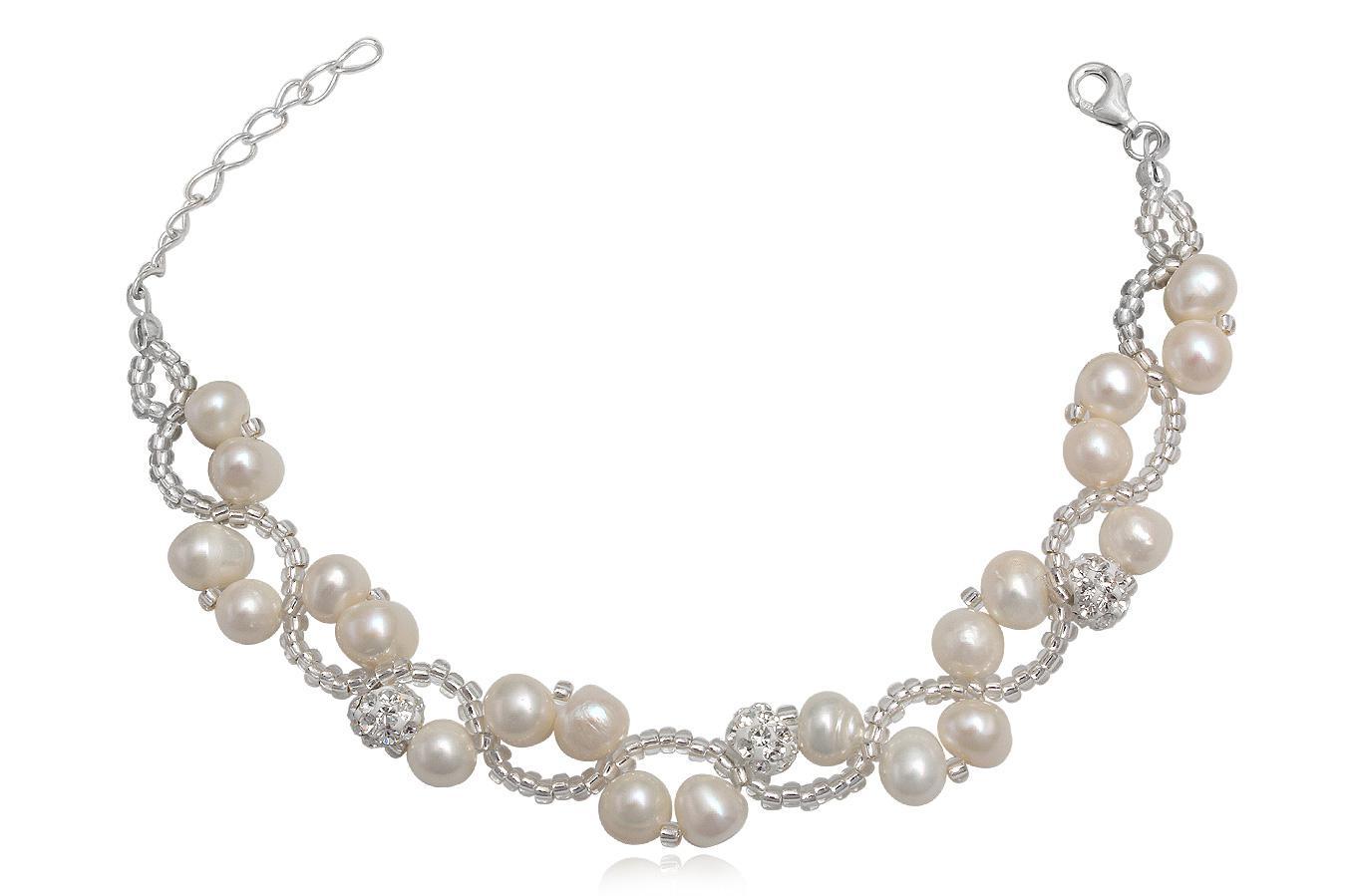 bratara mireasa cu perle si cristale