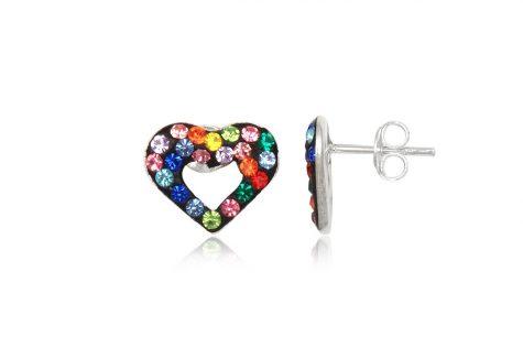 cercei cu cristale multicolore si inimi