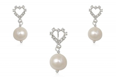 Set din argint cu perle naturale albe