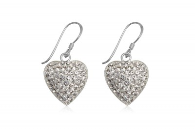 Cercei din argint cu inimi din cristale