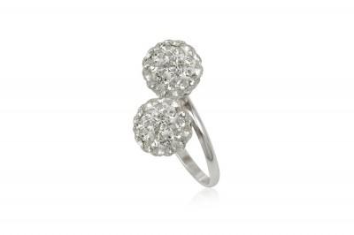 Inel din argint cu doua bobite din cristale albe