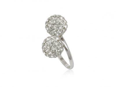 inel argint doua bobite cristale