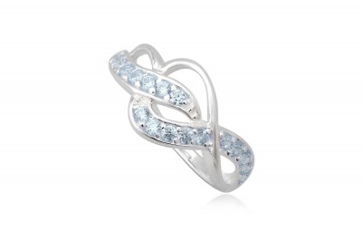 Inel din argint cu zirconii bleu deschis
