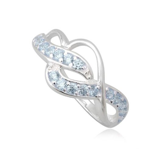 inel argint cu zirconii bleu deschis