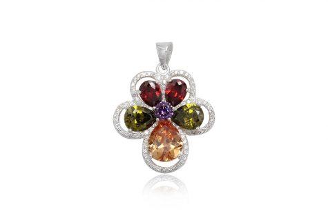 pandantiv floare cu zirconii multicolore