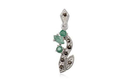 pandantiv din argint cu smaralde