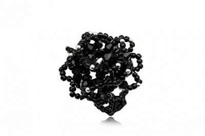 Inel Trandafir Negru din cristale