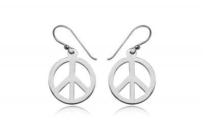 Cercei din argint cu simbol hippi