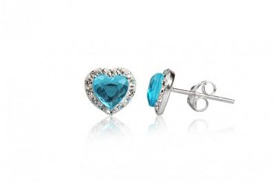 Cercei inimioare din argint cu cristale bleu