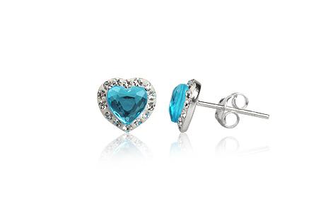 cercei argint inimioare bleu