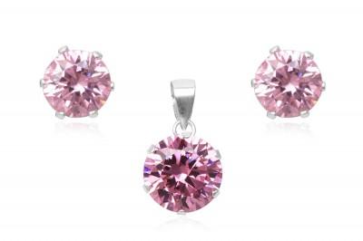 Set din argint si zirconii roz