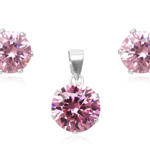 set argint si zirconii roz