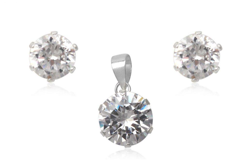 Set Din Argint Cu Zirconii Transparente