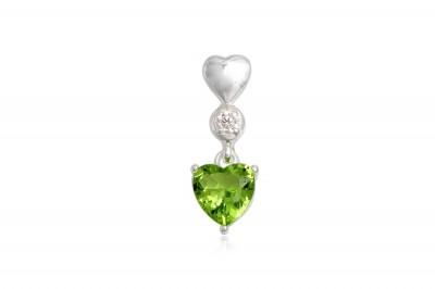 Pandantiv din argint cu inimioara verde