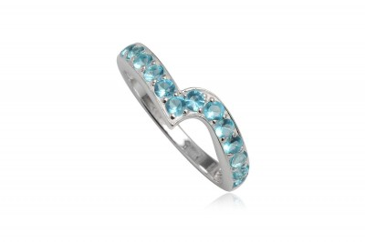 Inel din argint cu zirconii bleu