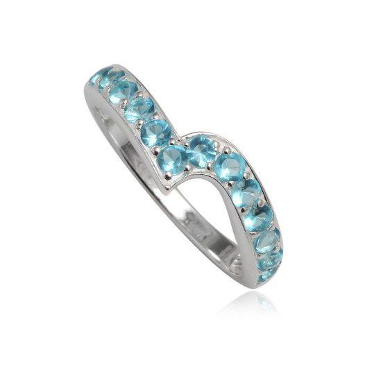 inel argint cu zirconii bleu
