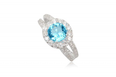 Inel de logodna cu piatra zirconia bleu