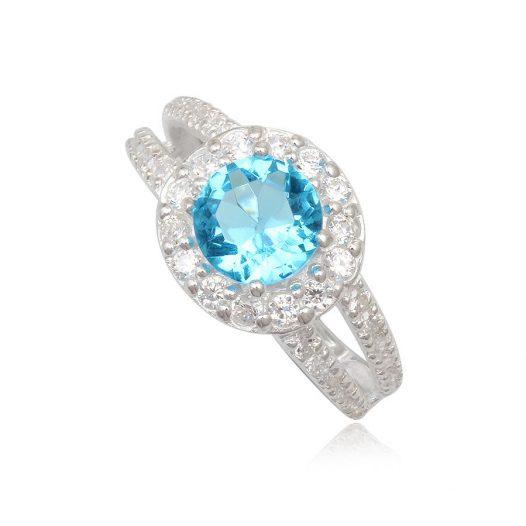 inel logodna cu ziarconia bleu