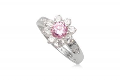 Inel din argint cu floare roz