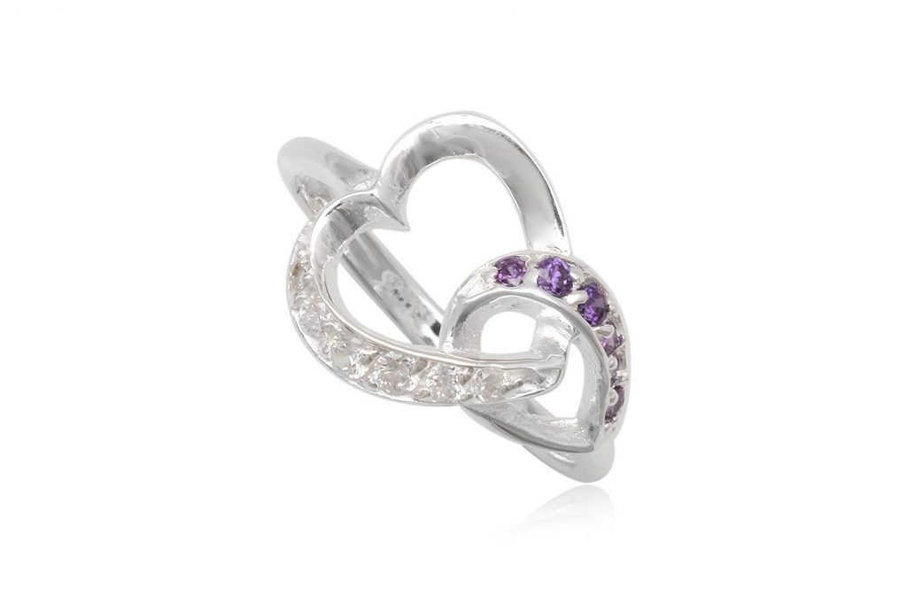 Inel Din Argint Cu Model Romantic Si Zirconii Mov